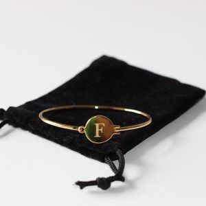 "Jewelry - 14K Gold Over Brass ""F"" Bracelet"
